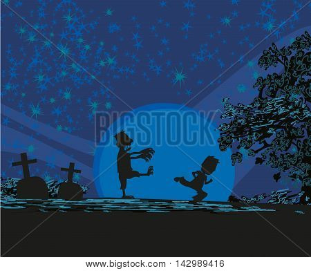 scary zombie attacks at night , vector illustration