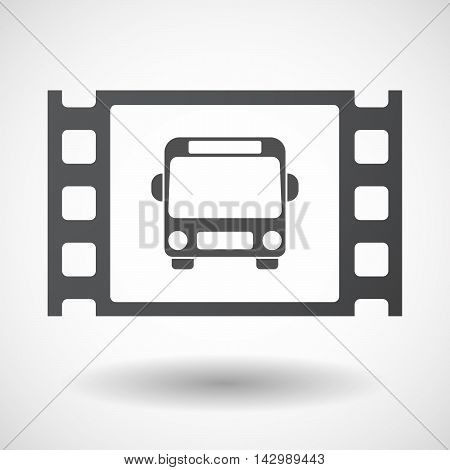 Isolated Celluloid Film Frame Icon With  A Bus Icon