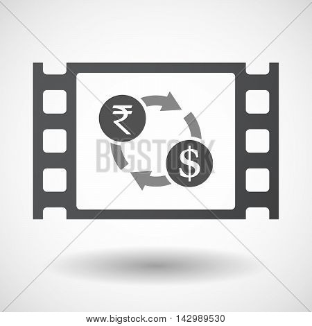 Isolated Celluloid Film Frame Icon With  A Rupee And Dollar Exchange Sign