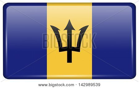 Flags Barbados In The Form Of A Magnet On Refrigerator With Reflections Light. Vector