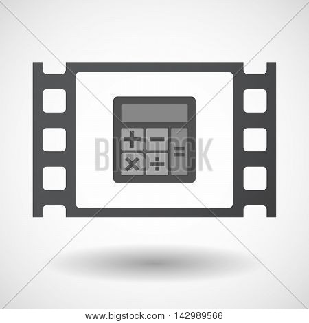 Isolated Celluloid Film Frame Icon With  A Calculator