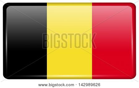 Flags Belgium In The Form Of A Magnet On Refrigerator With Reflections Light. Vector