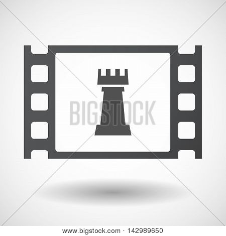 Isolated Celluloid Film Frame Icon With A  Rook   Chess Figure