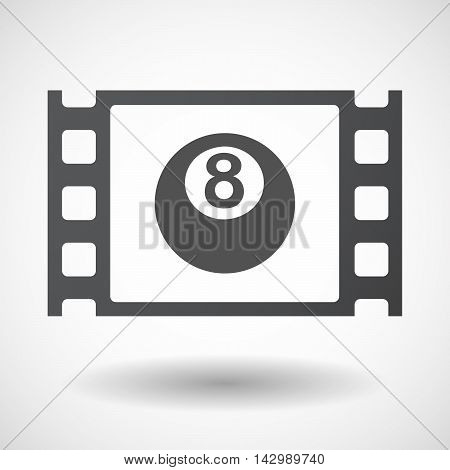 Isolated Celluloid Film Frame Icon With  A Pool Ball