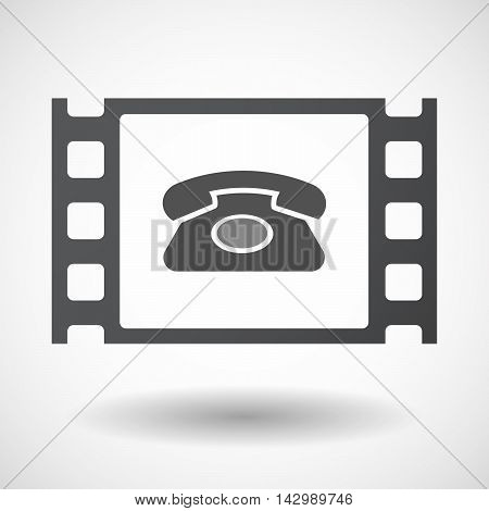 Isolated Celluloid Film Frame Icon With  A Retro Telephone Sign