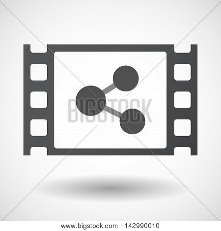Isolated Celluloid Film Frame Icon With  A Network Sign