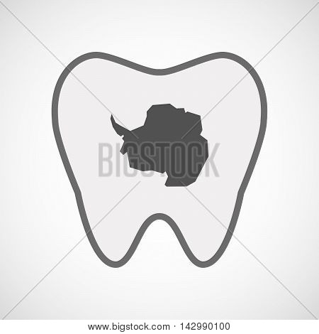 Isolated Line Art Tooth Icon With  The Map Of  Antarctica