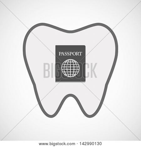 Isolated Line Art Tooth Icon With  A Passport