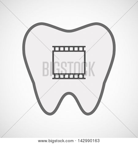 Isolated Line Art Tooth Icon With   A Photographic 35Mm Film Strip