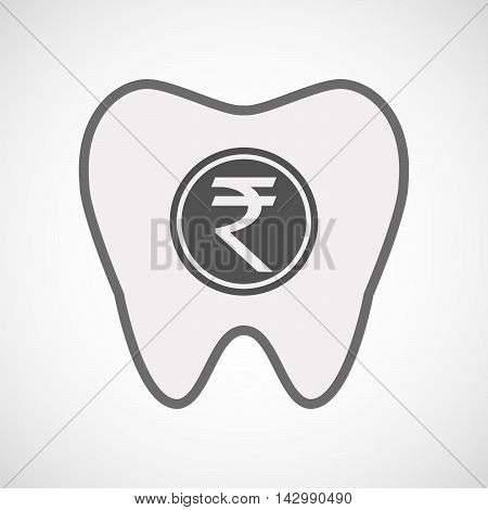 Isolated Line Art Tooth Icon With  A Rupee Coin Icon