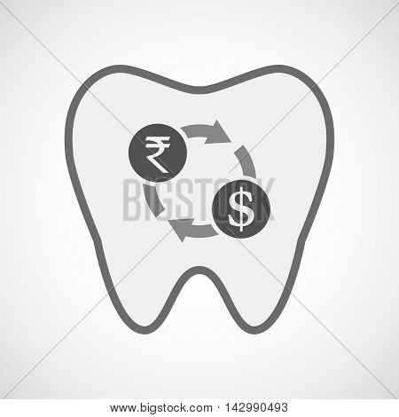 Isolated Line Art Tooth Icon With  A Rupee And Dollar Exchange Sign