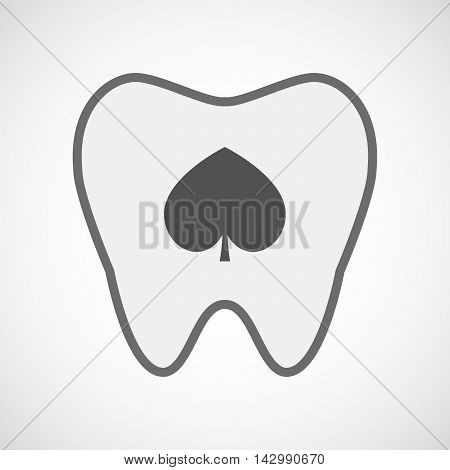 Isolated Line Art Tooth Icon With  The  Spade  Poker Playing Card Sign
