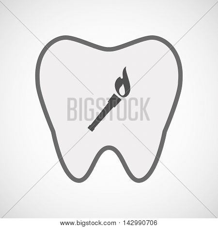 Isolated Line Art Tooth Icon With  A Torch Icon