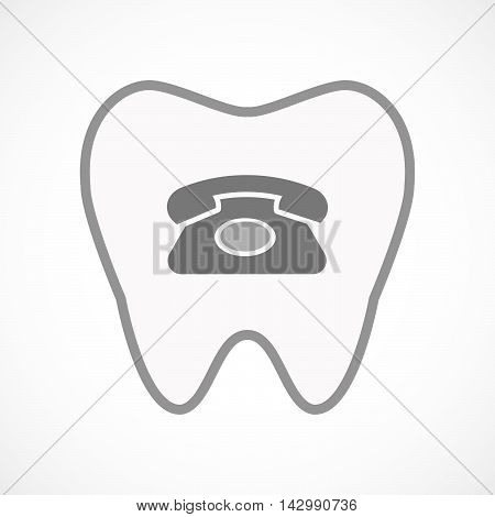 Isolated Line Art Tooth Icon With  A Retro Telephone Sign