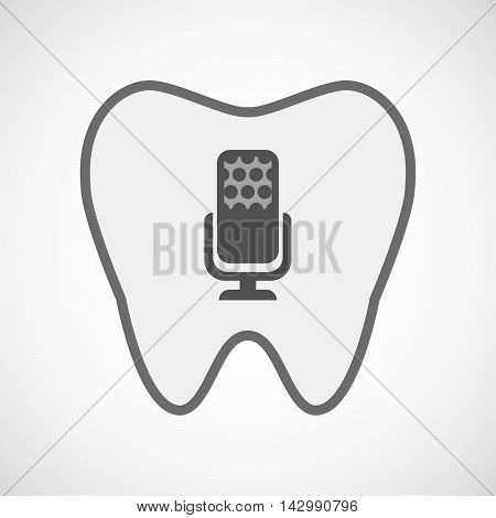 Isolated Line Art Tooth Icon With  A Microphone Sign