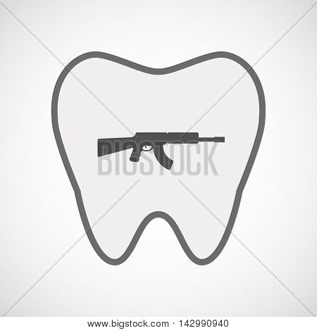 Isolated Line Art Tooth Icon With  A Machine Gun Sign