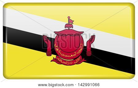 Flags Brunei In The Form Of A Magnet On Refrigerator With Reflections Light. Vector