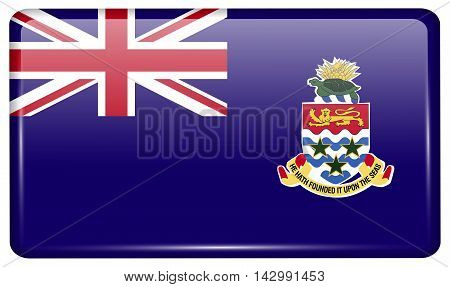 Flags Cayman Islands In The Form Of A Magnet On Refrigerator With Reflections Light. Vector
