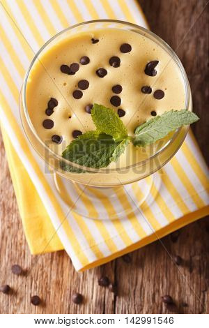 Italian Dessert Cream Zabaione With Chocolate Drops Closeup. Vertical Top View