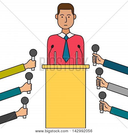Politician or business man giving a press conference. Concept thin line cartoon vector illustration.