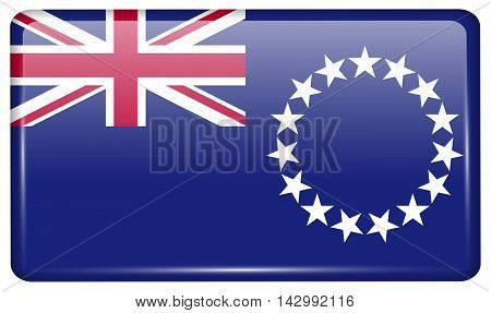 Flags Cook Islands In The Form Of A Magnet On Refrigerator With Reflections Light. Vector