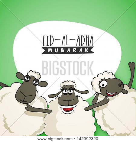 Cute funny Sheep, Vector illustration for Muslim Community, Festival of Sacrifice, Eid-Al-Adha Mubarak. Creative Card design.