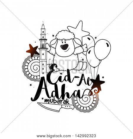 Creative hand-drawn elements for Muslim Community, Festival of Sacrifice, Eid-Al-Adha Mubarak.