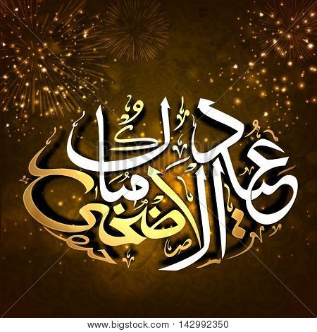 Stylish Arabic Calligraphy Text Eid-Al-Adha Mubarak on sparkling, fireworks background for Muslim Community, Festival of Sacrifice Celebration.
