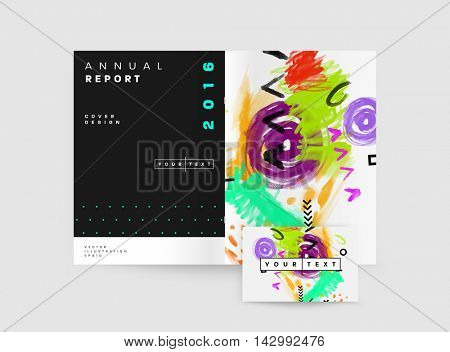 Cover template with abstract watercolor elements for business designs and backgrounds. All aquarelle elements are monochrome and easy to recolor.