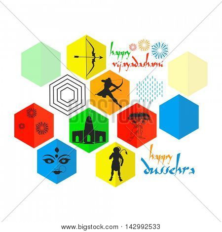 Set of colourful sticker, tag or label design for Indian Festival, Happy Vijayadashami or Happy Dussehra celebration.