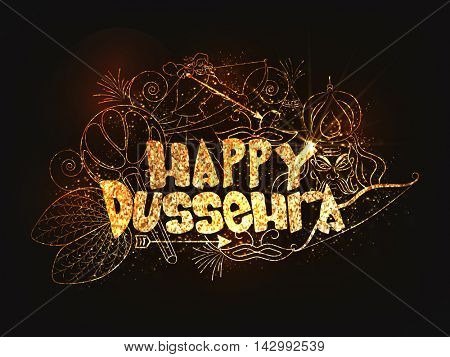 Golden Glittering Text Happy Dussehra with Sona Patta (Golden Leaf), Mace (Gada), Lord Rama, Ravana and other elements, Can be used as Poster, Banner or Flyer design for Indian Festival celebration.