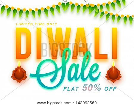 Biggest Diwali Sale Poster, Elegant Flyer, Special Offer Banner, Flat Discount Upto 50% for Limited Time Only, Vector illustration with Illuminated Lit Lamp for Indian Festival of Lights.