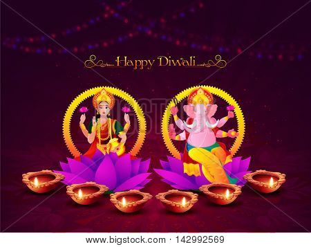 Vector illustration of Indian Goddess Lakshmi and Lord Ganesha, Giving blessing on Illuminated Oil Lit Lamps decorated elegant background for Festivals of Lights Celebration.
