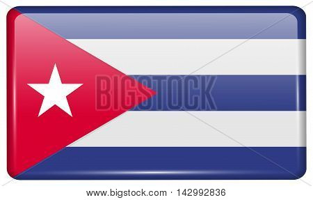 Flags Cuba In The Form Of A Magnet On Refrigerator With Reflections Light. Vector