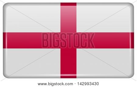 Flags England In The Form Of A Magnet On Refrigerator With Reflections Light. Vector