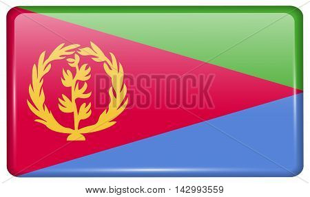 Flags Eritrea In The Form Of A Magnet On Refrigerator With Reflections Light. Vector