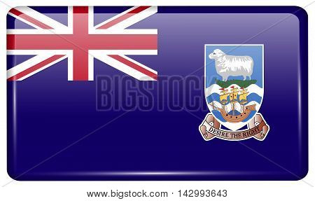 Flags Falkland Islands In The Form Of A Magnet On Refrigerator With Reflections Light. Vector