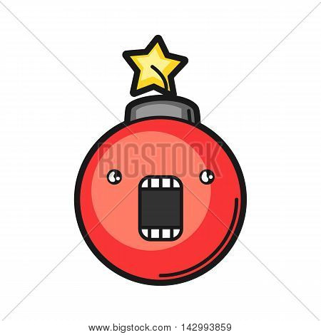 Illustration of red bomb. Icon on white background.