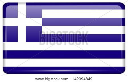 Flags Greece In The Form Of A Magnet On Refrigerator With Reflections Light. Vector