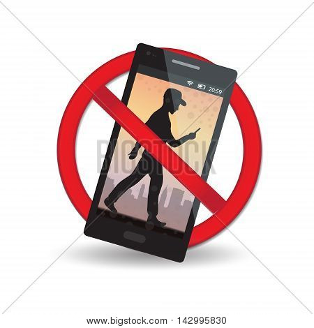 Red warning sign. Sign of prohibition. Sign of ban the game on the phone. Vector illustration;