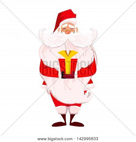 Merry Christmas. Happy New Year. Santa Claus with long beard and cute moustache in red. Papa Noel present red gift with gold ribbon isolated over white. Presents on Christmas day concept. vector