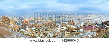 The wide panorama of Uchisar and rocky Cappadocian landscape from the Castle hill Turkey.