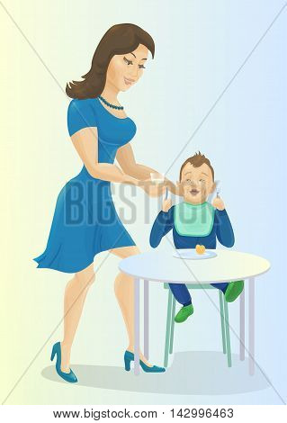 Mother feeding baby at the table. Mum giving glass of milk to her son