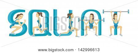 Fitness label for flyer or poster with letters and woman doing squat exercises with barbelll