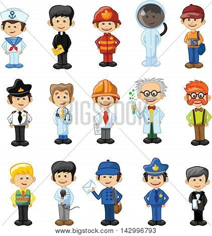 Cartoon characters of different professions, vector illustration