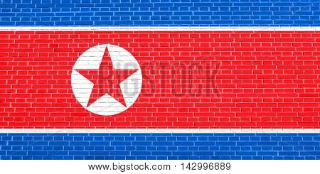 Flag of North Korea Democratic Peoples Republic of Korea on brick wall texture background. North Korean DPRK national flag. 3D illustration