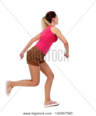 side view woman start position.  Rear view people collection.  backside view of person.  Isolated over white background. Sport blond in brown shorts running sprint.