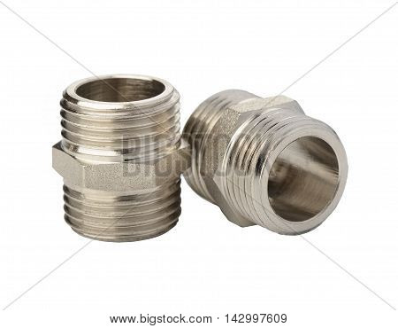 Fasteners of metal for flexible hoses on a white background