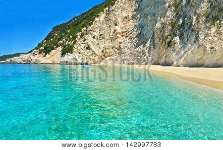 landscape of Ithaca beach Ionian islands Greece