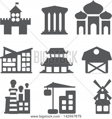 Set of different buildings and houses icons in the flat style